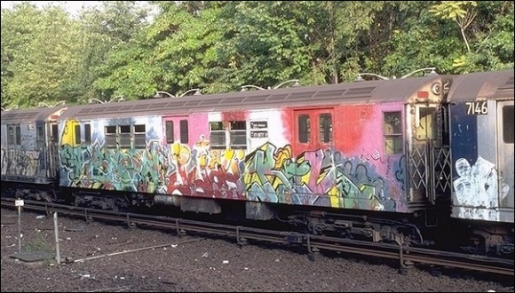 The graffiti epidemic displayed in full swing on this IRT train on the Dyre Avenue Line, September 1980. Photo by Steve Zabel, collection of Joe Testagrose. (http://www.nycsubway.org/articles/history-nycta1980s.html)