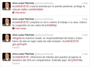 Twitter: Ana Luisa Flechas, Sec de Movilidad