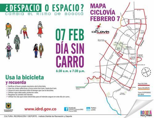 Mapa de Ciclovía Día sin Caro 2013